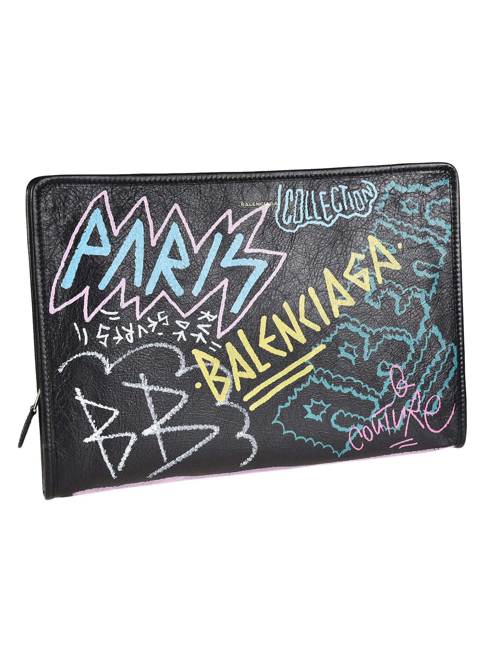 Bazar Graffiti Printed Textured-Leather Pouch, Nero