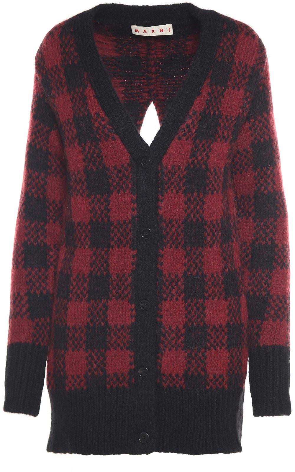 Marni Jaquard Wool And Alpaca-blend Split Cardigan Sweater