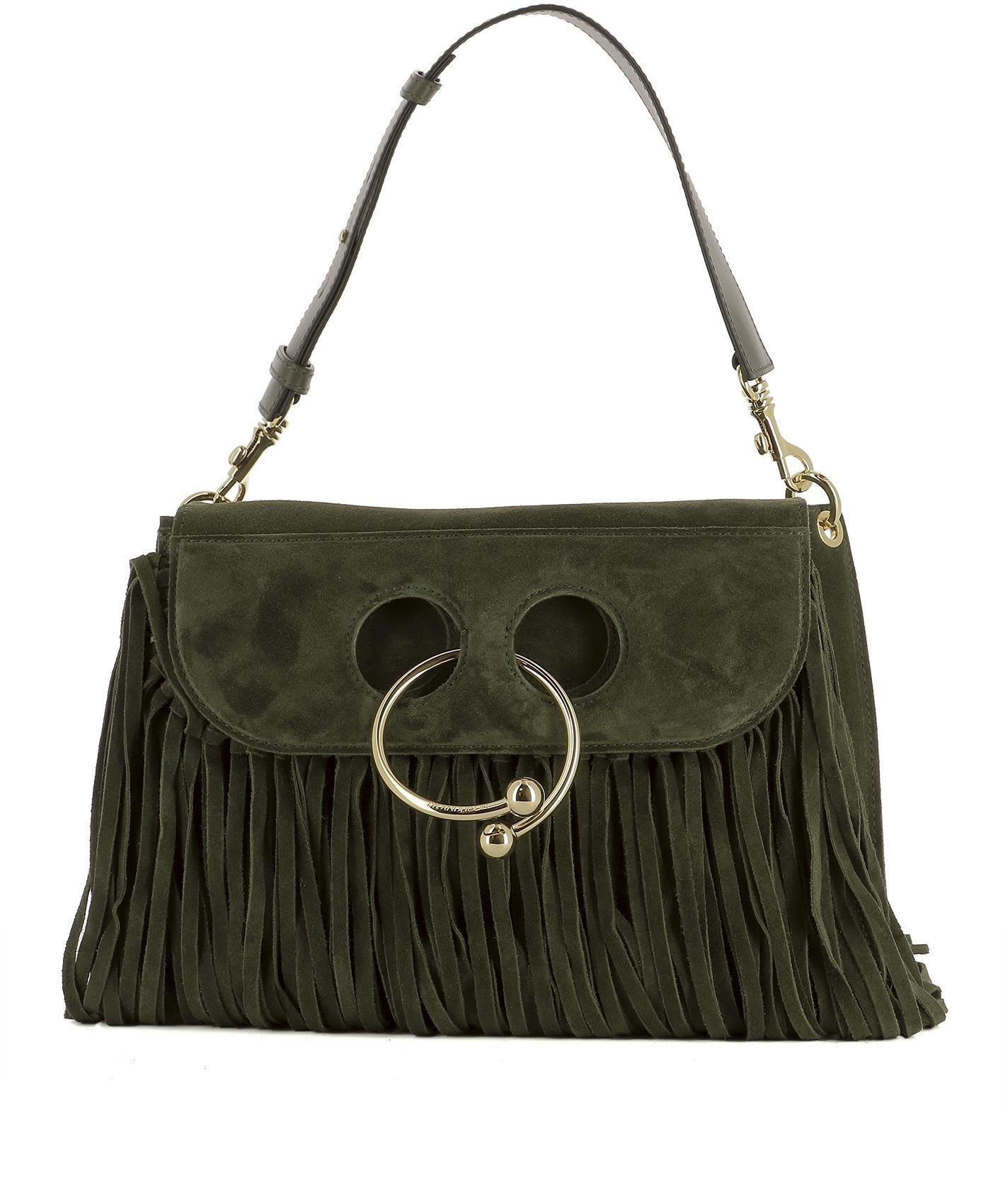 Green Suede Shoulder Bag