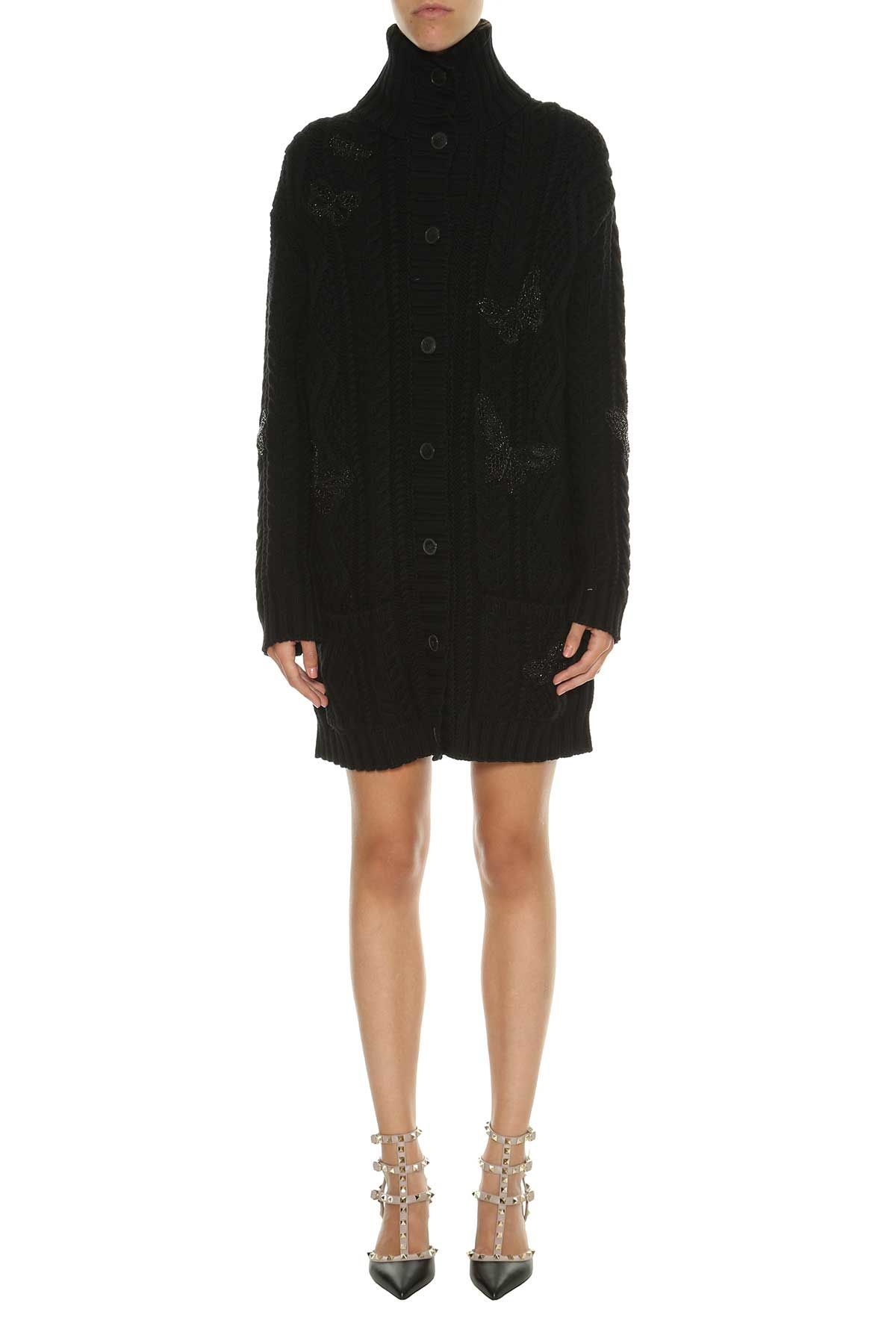 Valentino Knitted Wool Coat With Patches