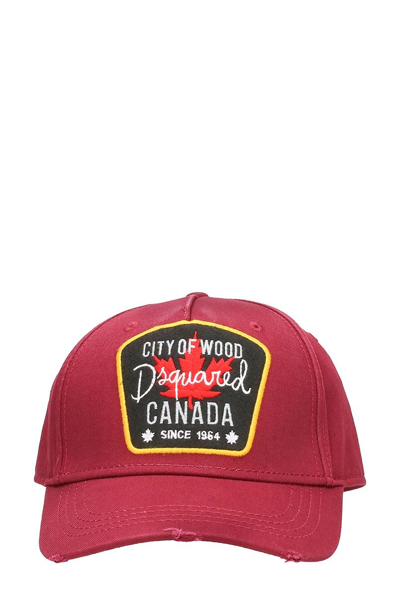 Dsquared2 City Woods Red Cotton Hat