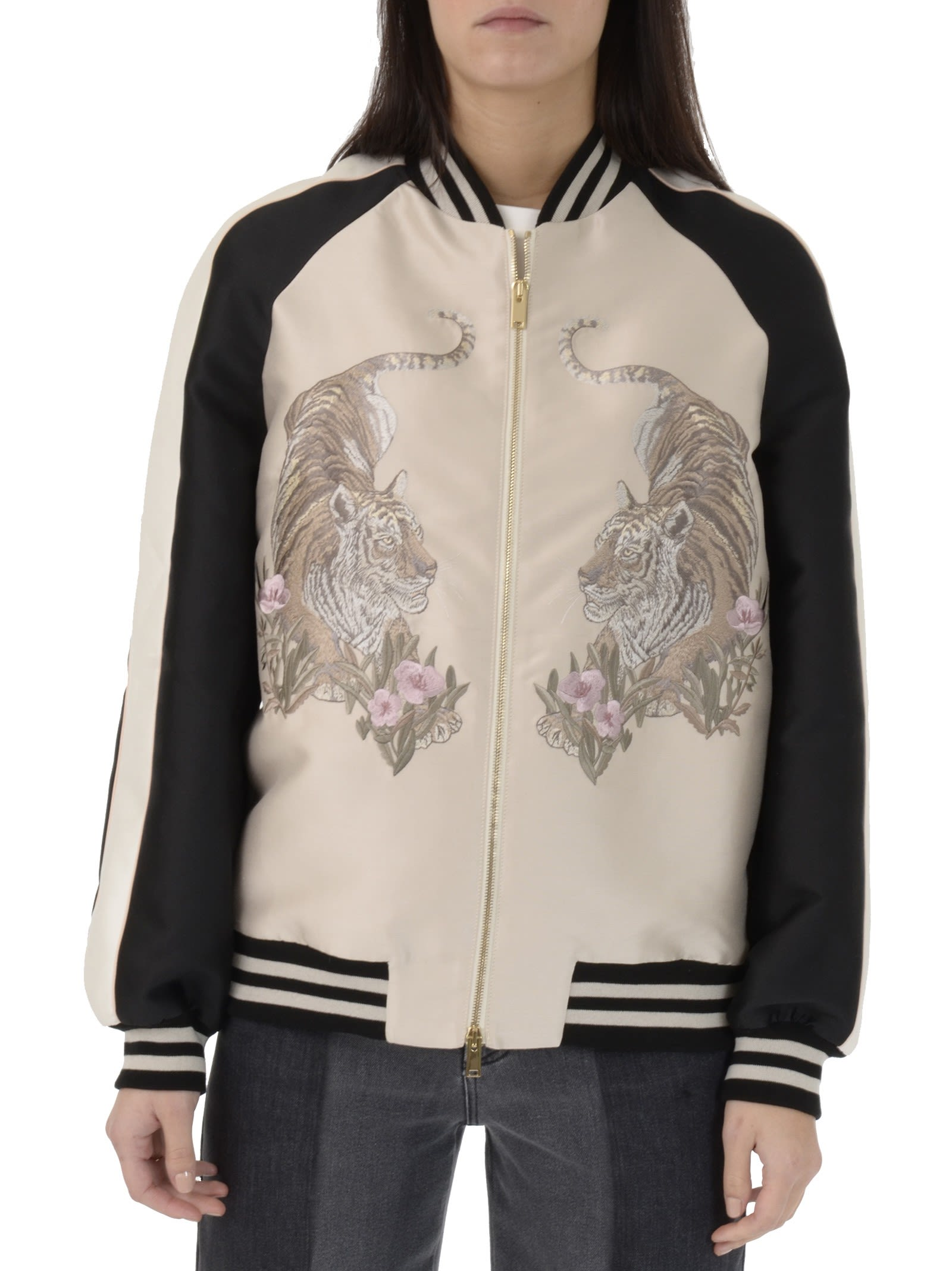 Stella McCartney Tiger Embroidery Oyster Bomber Jacket
