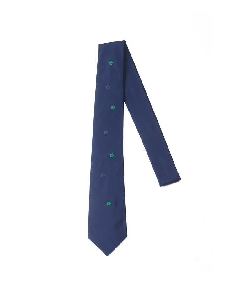 Cravatta Jupe By Jackie Blu Con Fiori Ricamati Verdi E Blu