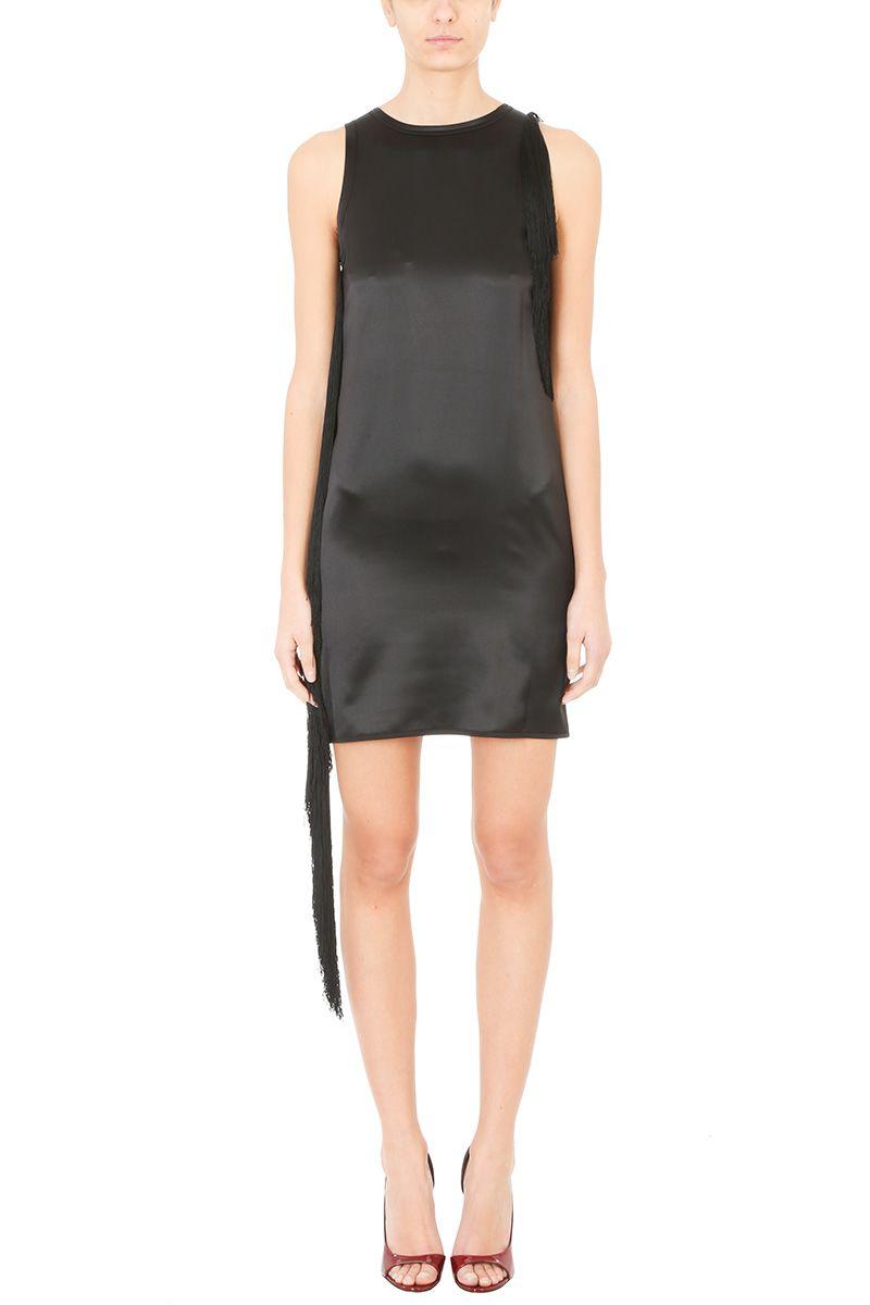 Helmut Lang Fringed Silk Satin Mini Dress
