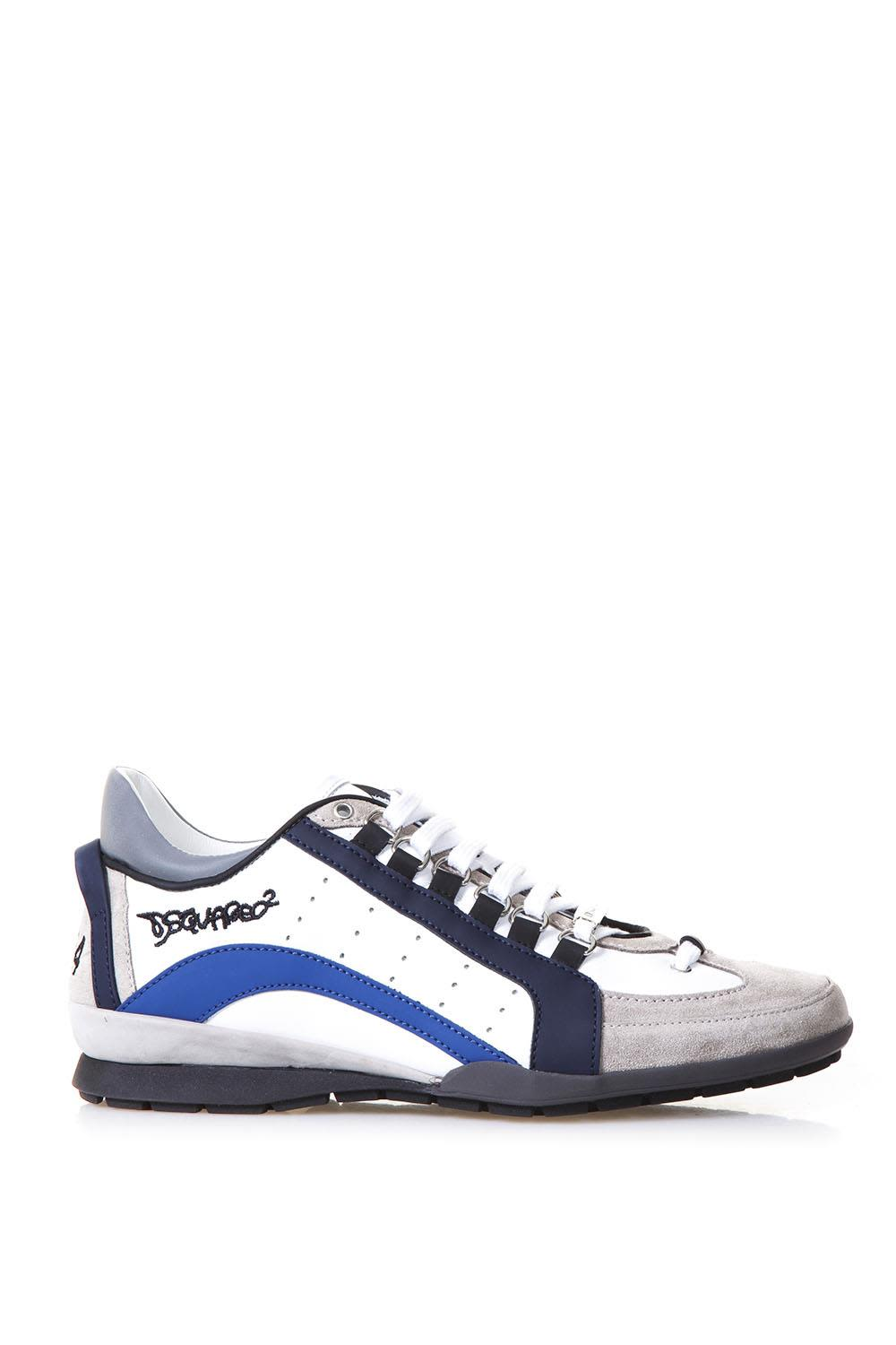 Dsquared2 551 White & Blu Leather Sneakers