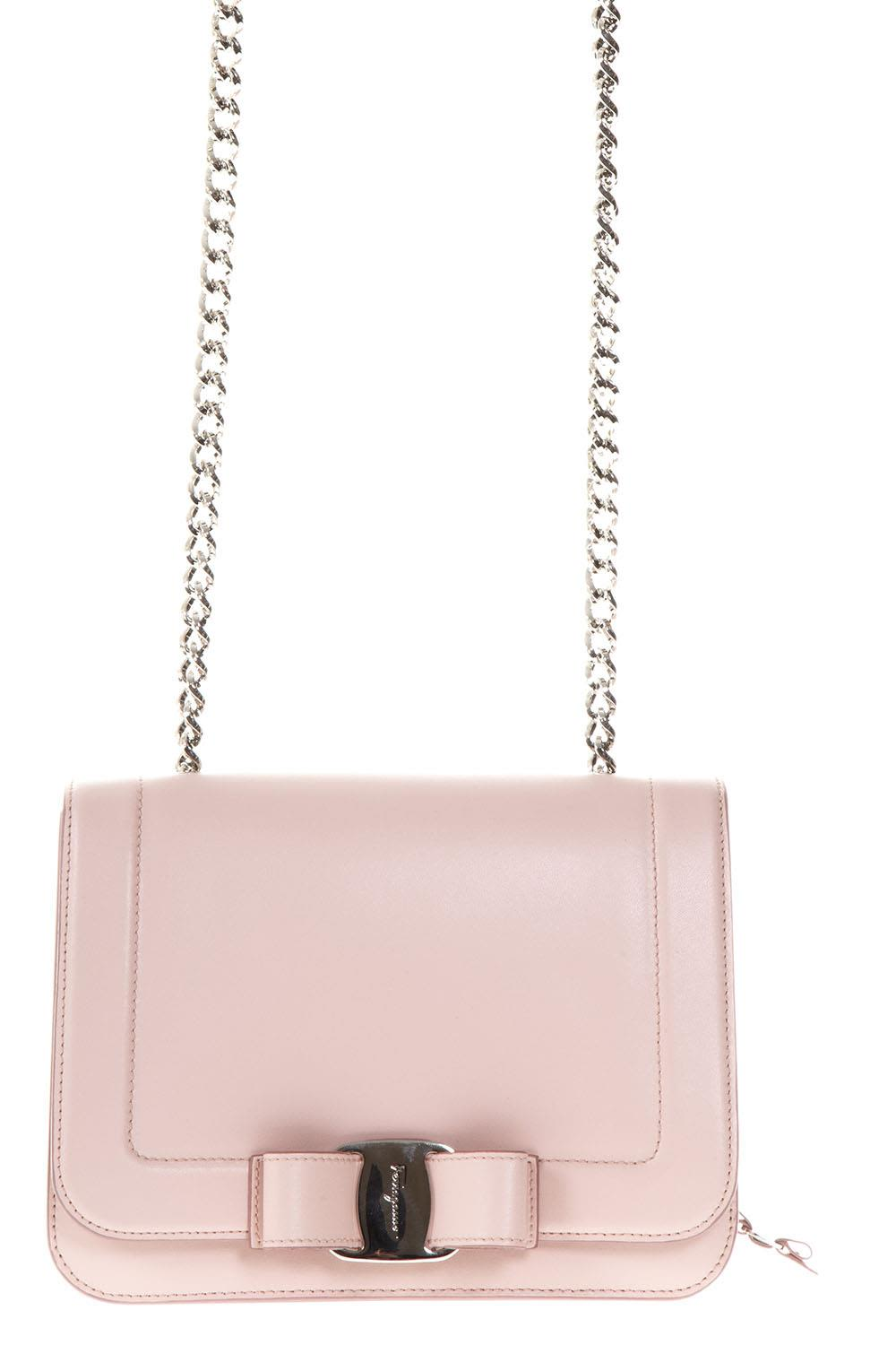 Salvatore Ferragamo Vara Small Pink Leather Shoulder Bag
