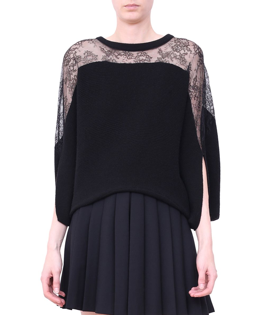 RED Valentino Lace Trimmed Wool Jersey Sweater