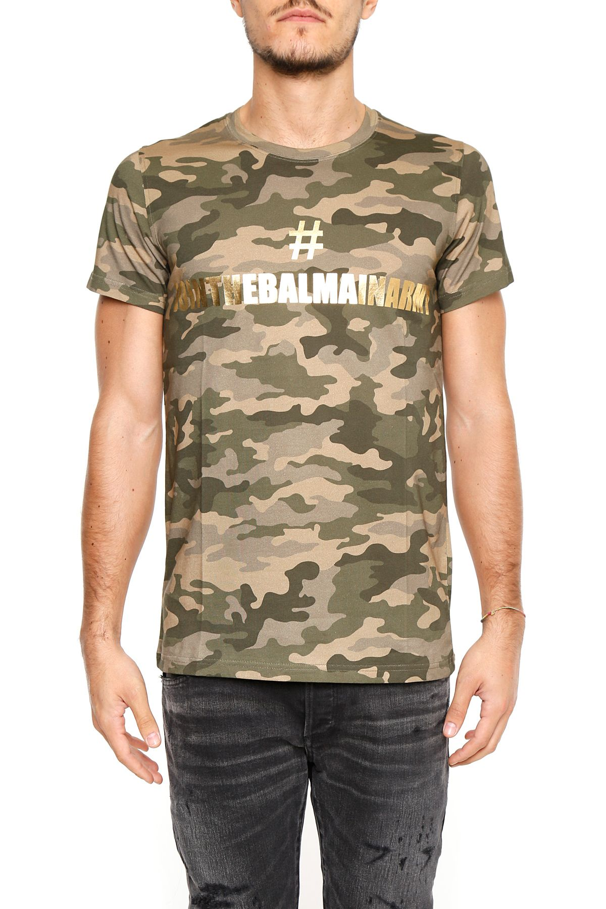 Camouflage Cotton T-shirt With Print
