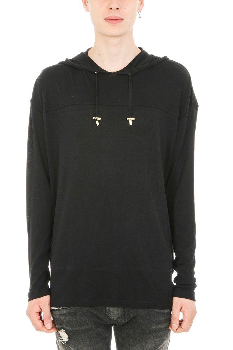 Balmain Hoodie Black Wool Sweater