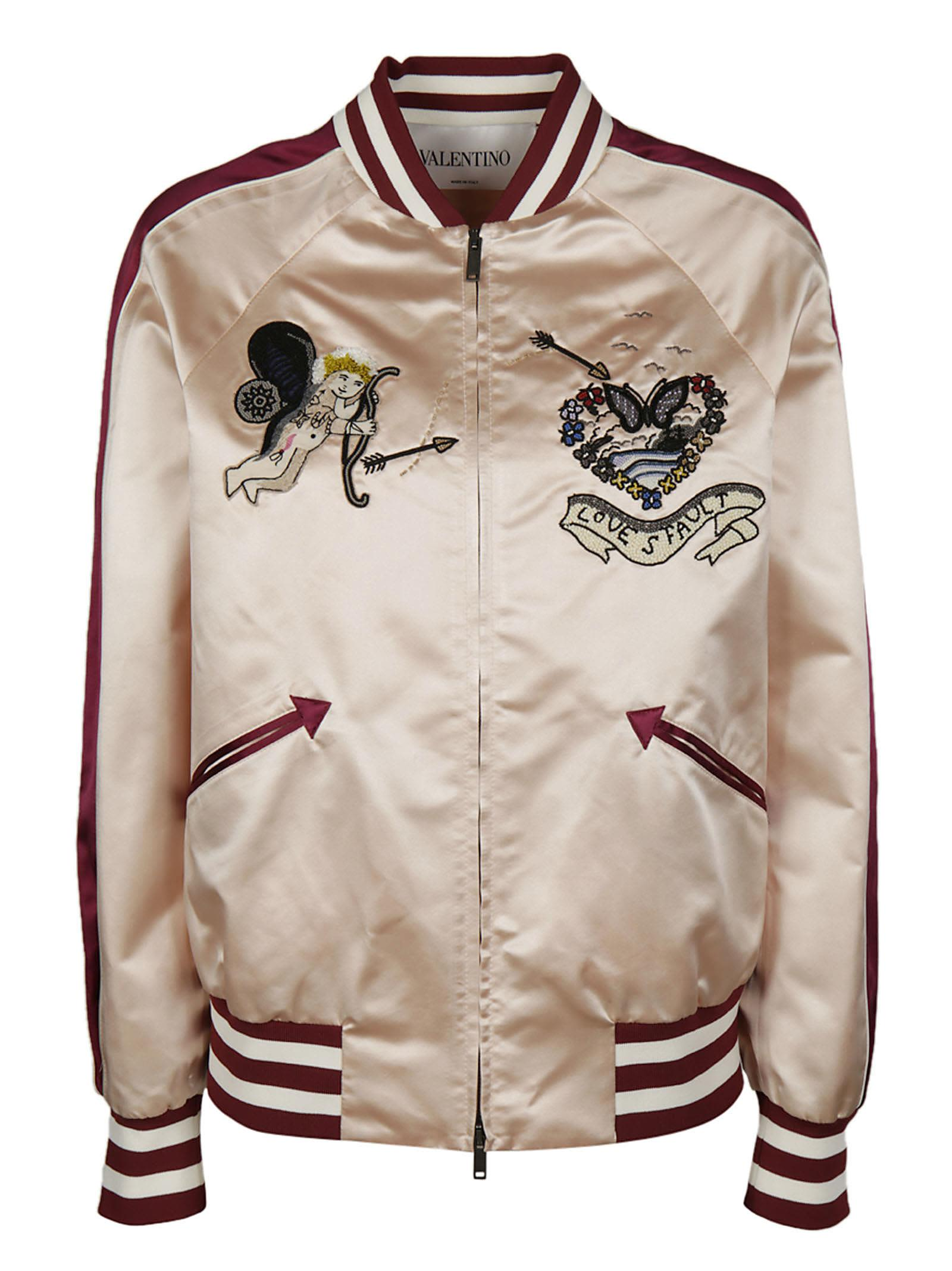 Valentino Embroidered Tattoo Bomber Jacket