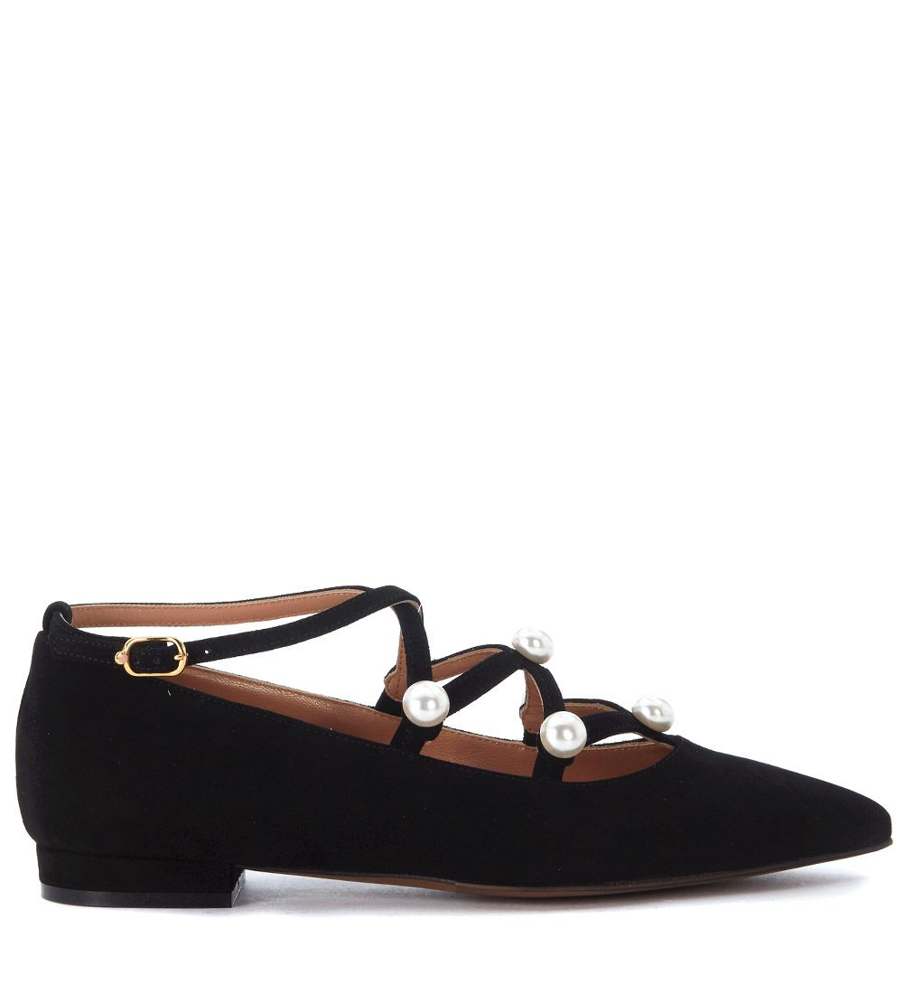 Lautre Chose Black Suede Flat Shoes With Pearls