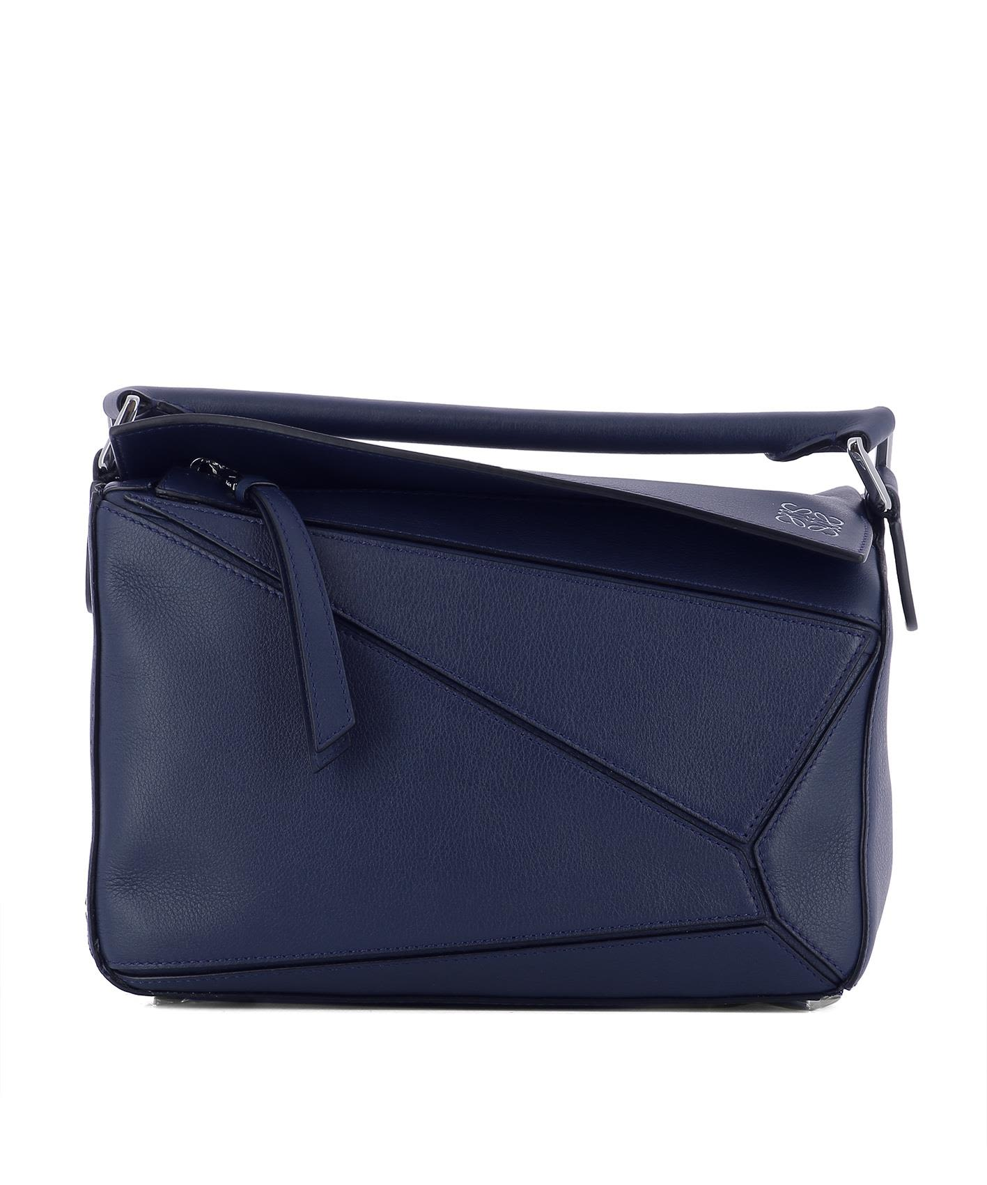 Blue Leater Handle Bag