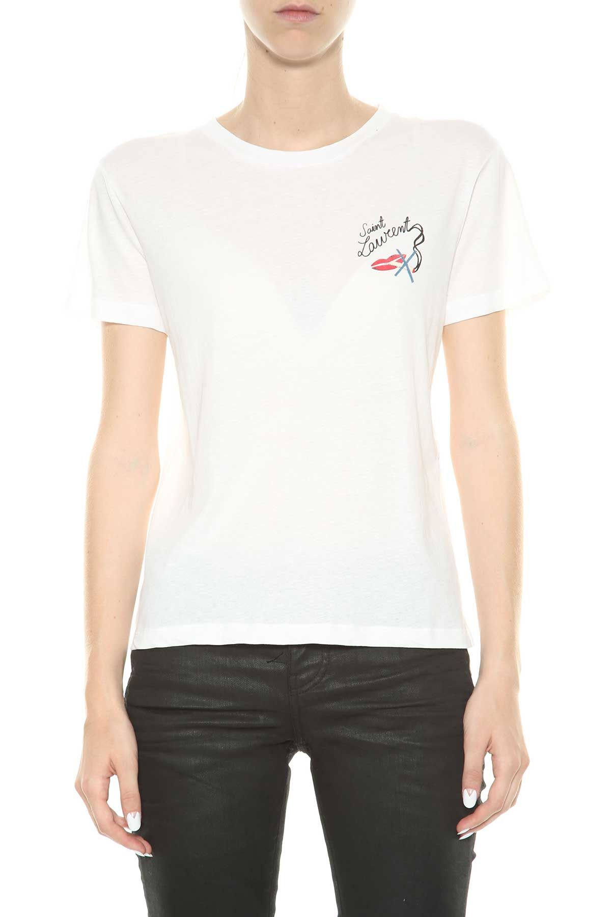 Saint Laurent White T-shirt With Print