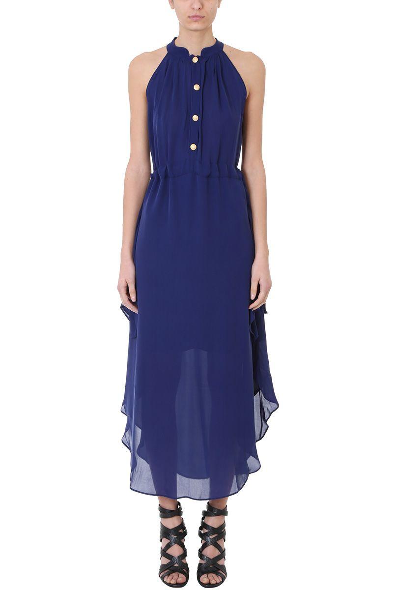 Pierre Balmain Blue Silk Dress