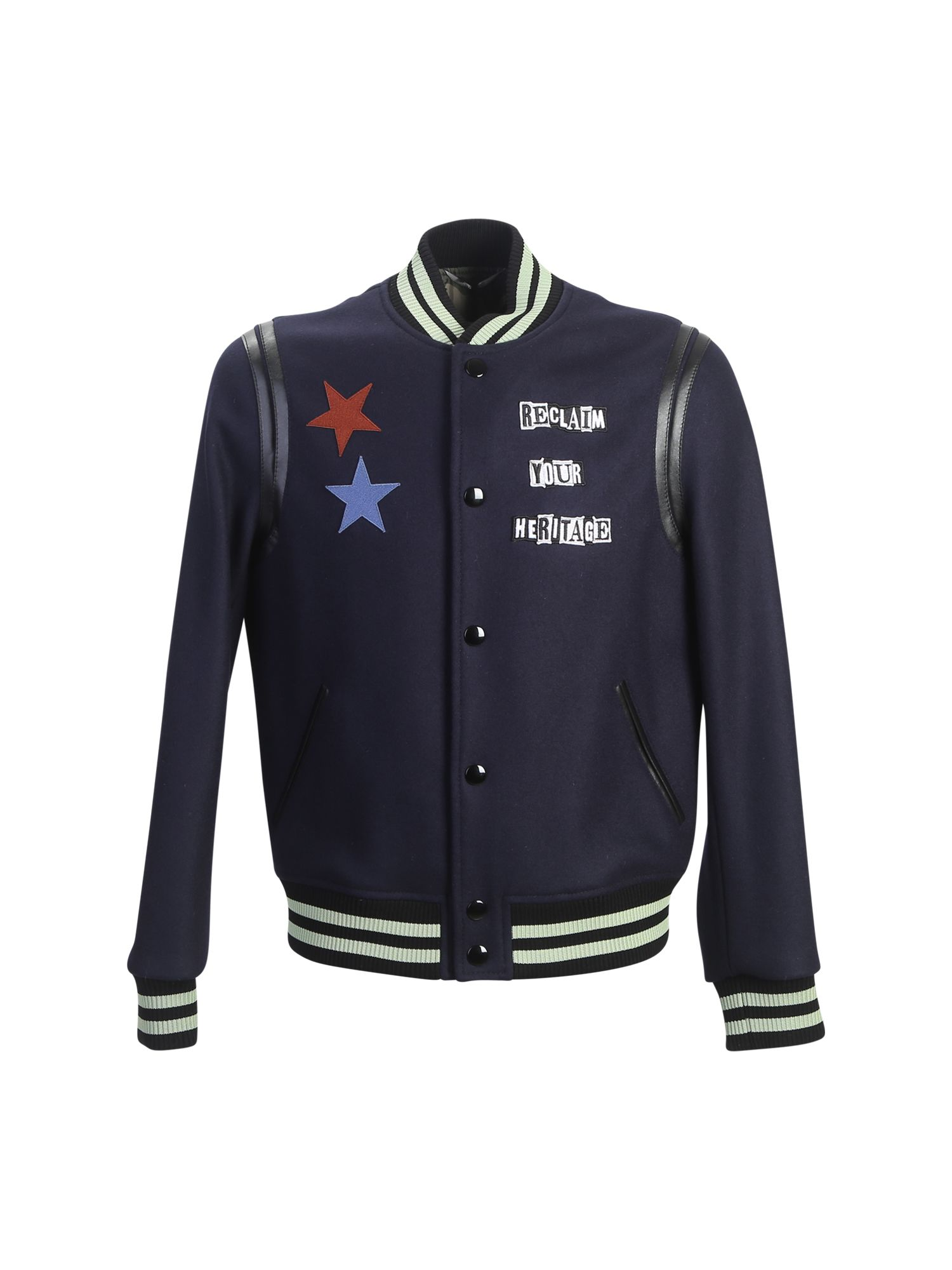Wool Bomber Jacket With Patches