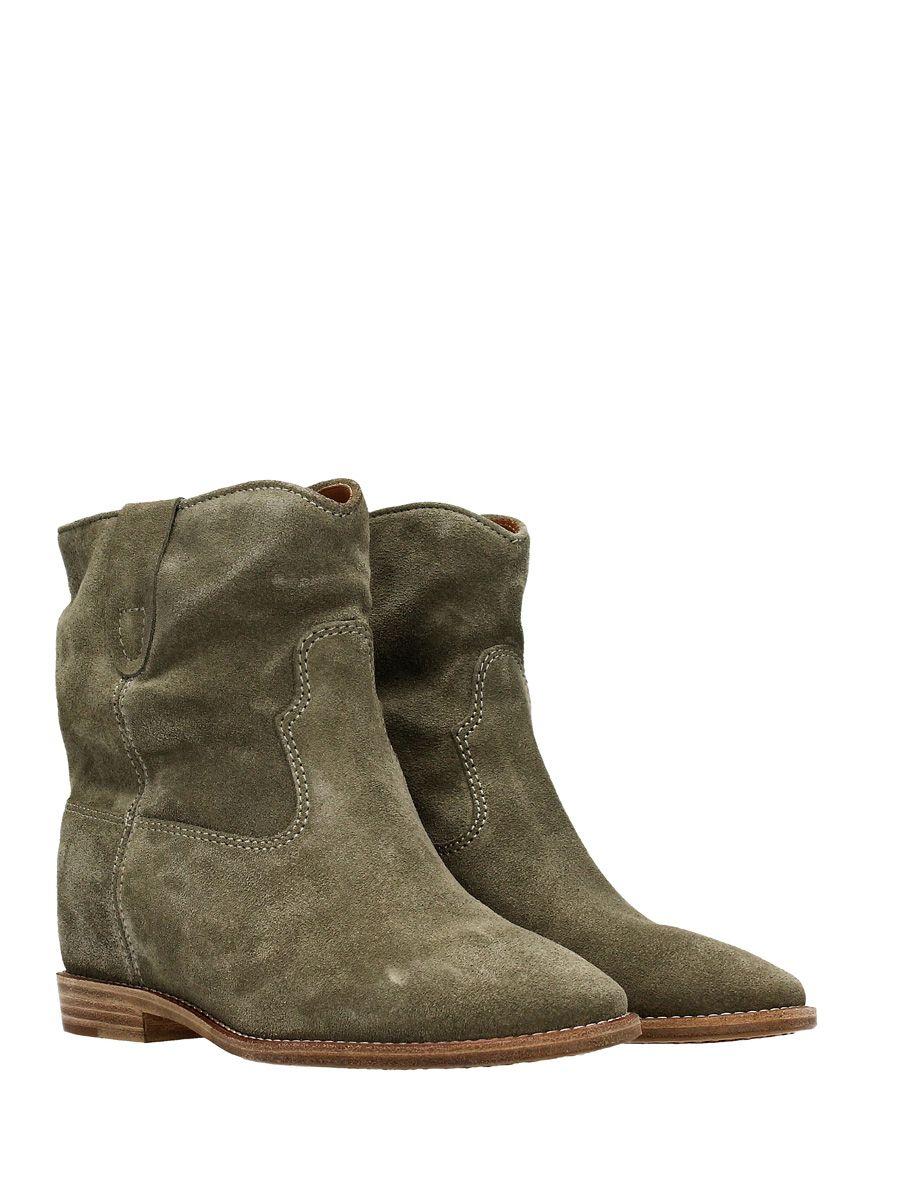 isabel marant isabel marant crisi wedge khaki suede ankle boots khaki women 39 s boots italist. Black Bedroom Furniture Sets. Home Design Ideas