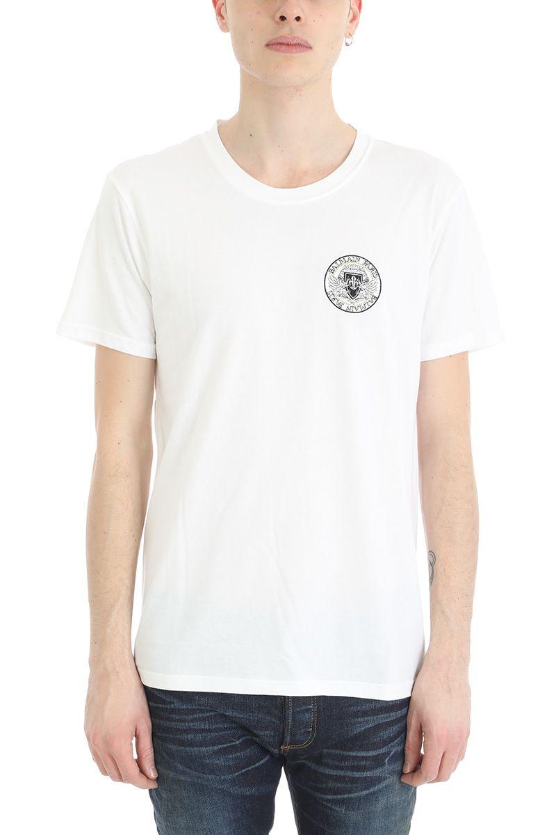 Balmain White Cotton Tshirt With Rounded Logo