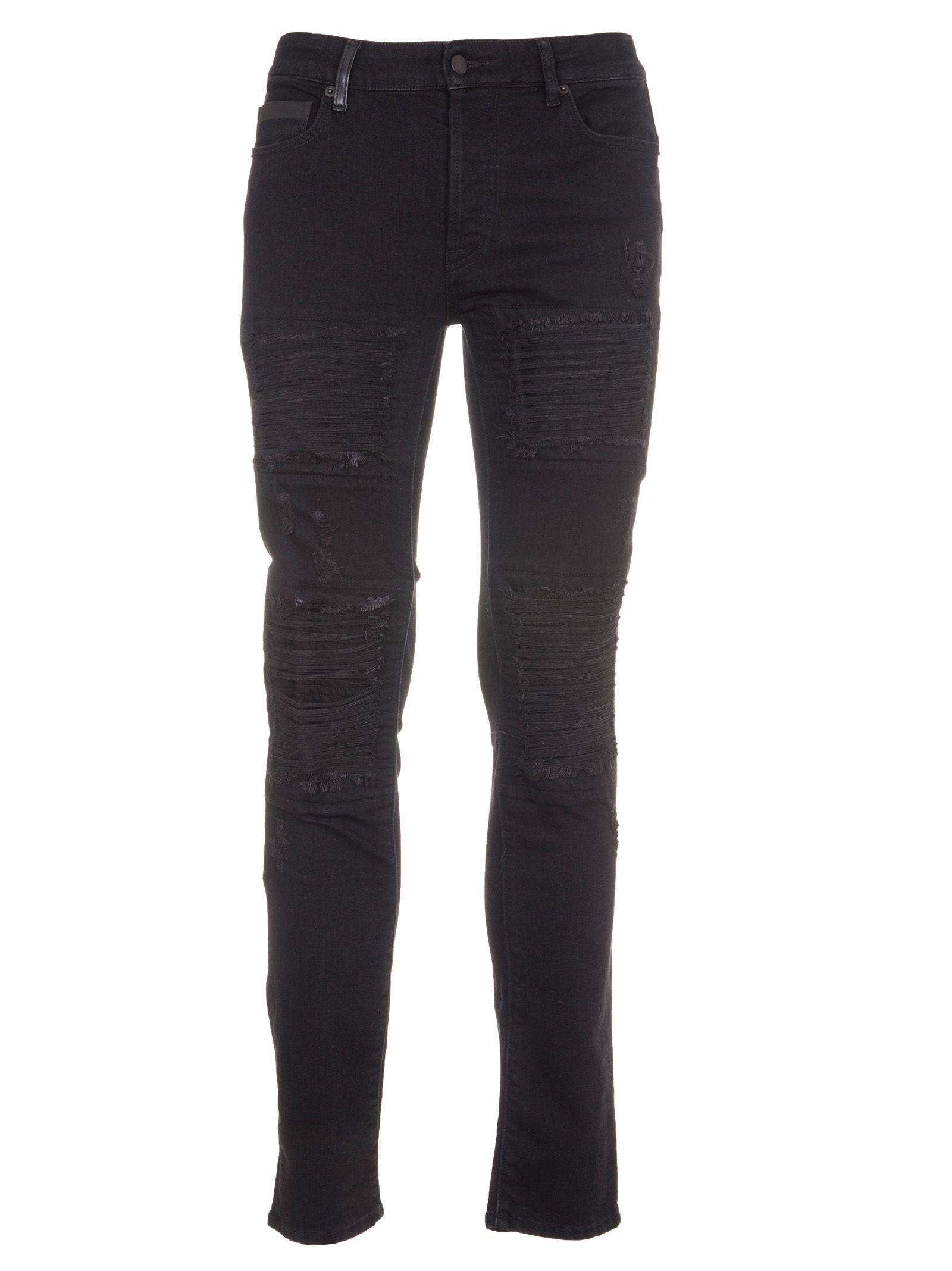 Marcelo Burlon Black Distressed Slim Jeans