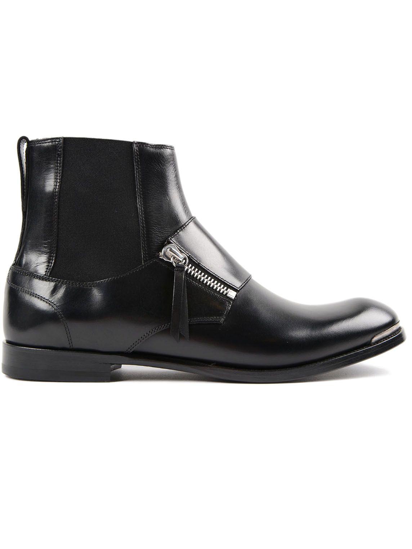 Alexander McQueen Zipped Detail Ankle Boots