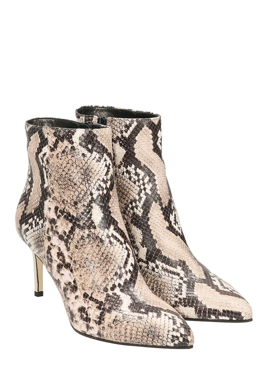 PYTHON PRINTED LEATHER ANKLE BOOTS