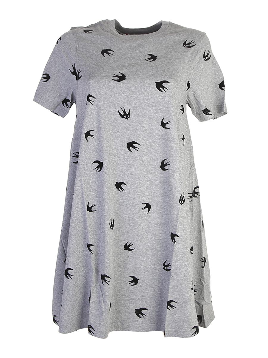 Swallow Printed Jersey Babydoll Dress, Grey