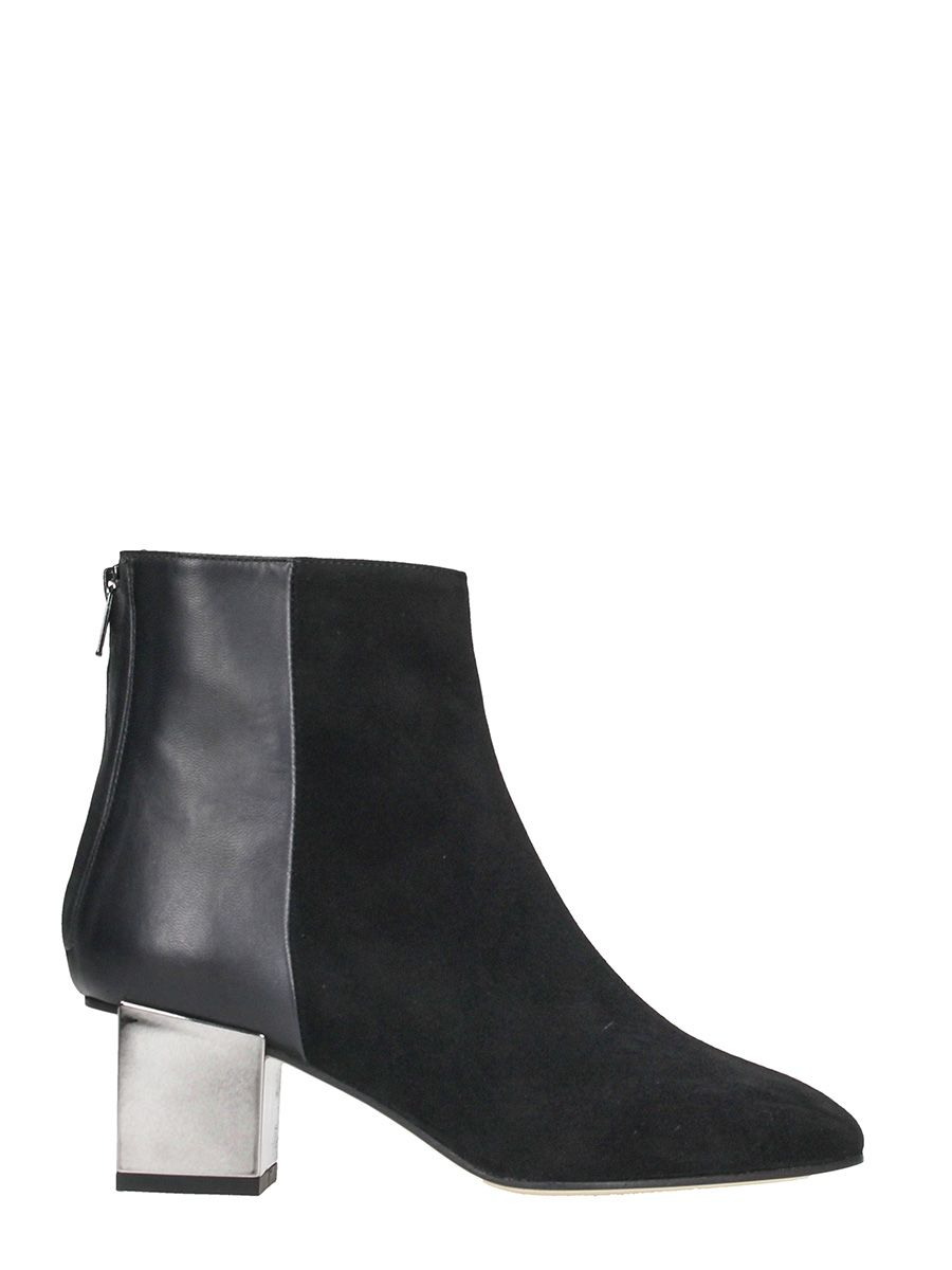 Marc Ellis Black Calf And Suede Leather Zipped Boots