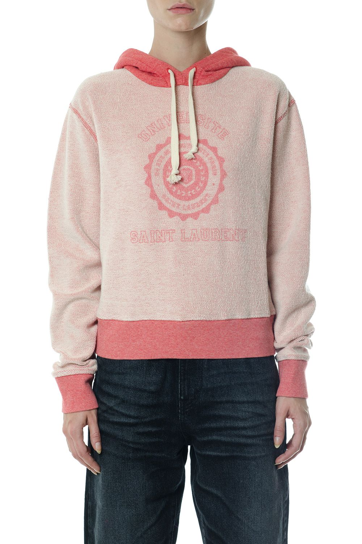 Saint Laurent Cotton Logo Patch Hooded Sweatshirt