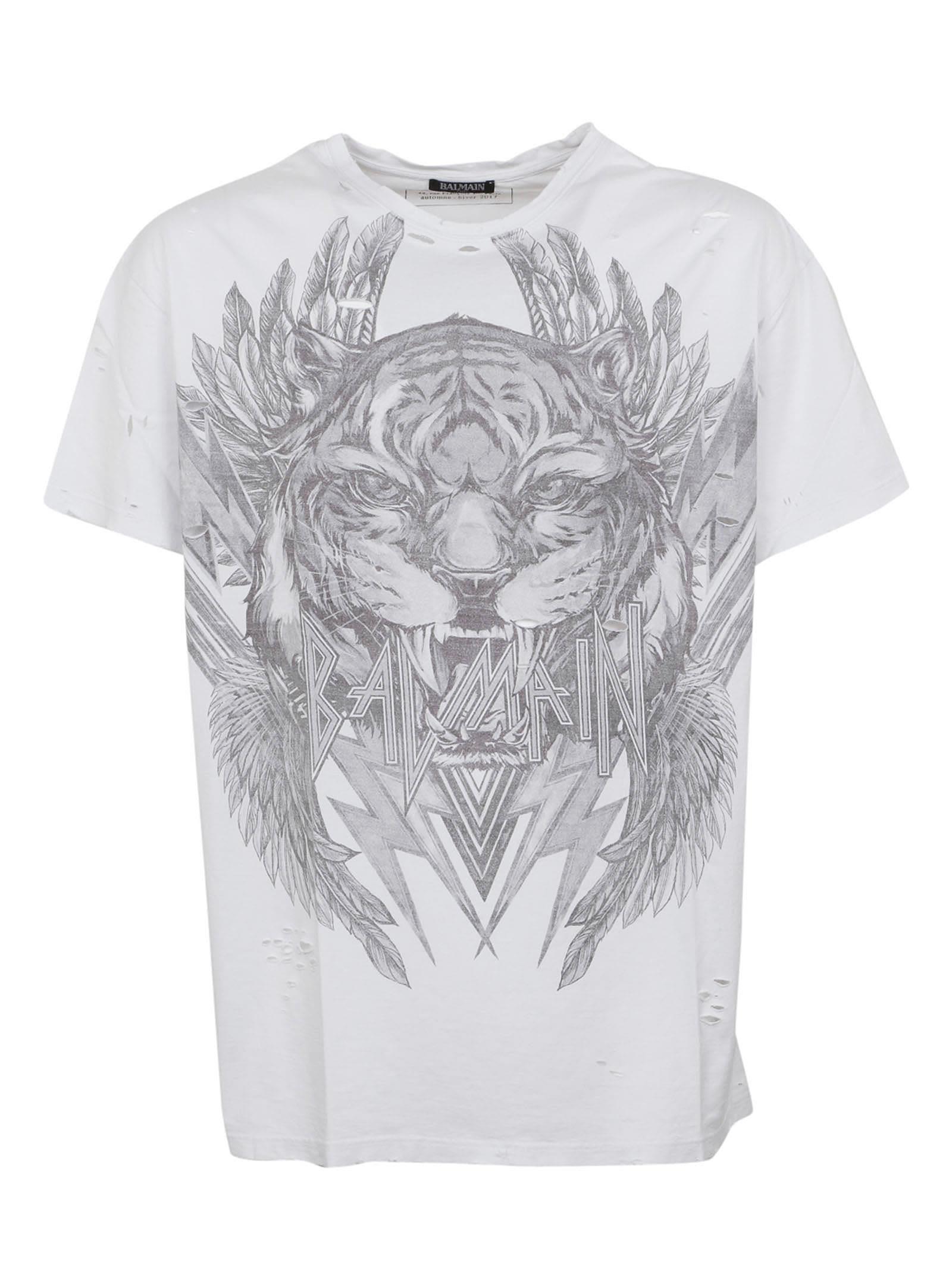 Balmain tiger and logo print cotton jersey t shirt in for Balmain white logo t shirt