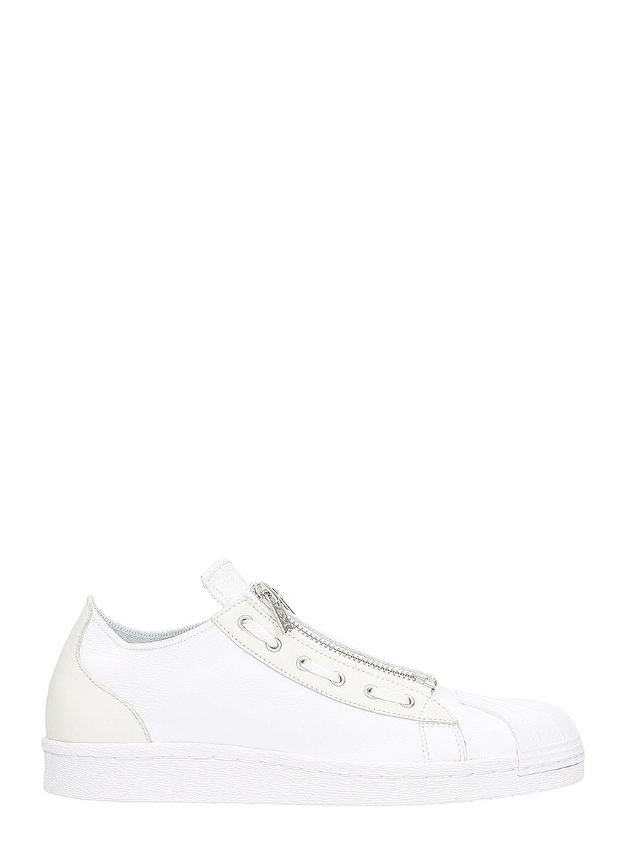 Y-3 Super Zip White Leather Sneakers