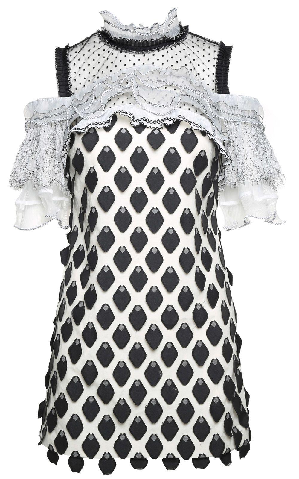 self-portrait Ruffle-trim 3d Petal Mini Dress