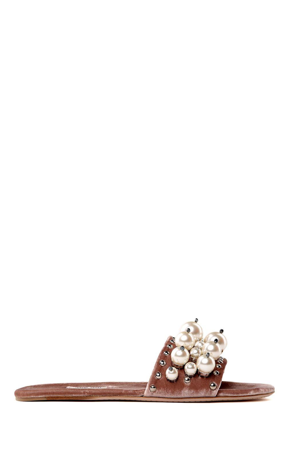 Miu Miu Faux-pearl-embellished Velvet Slides