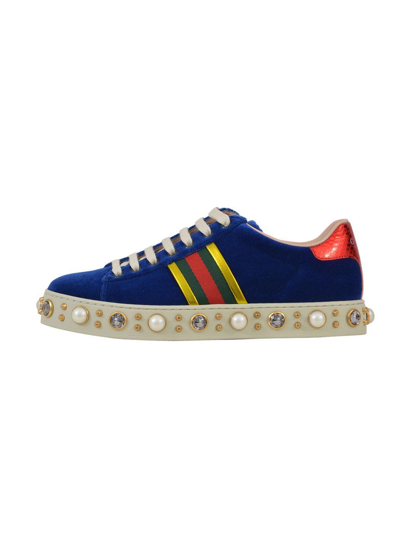 Gucci Blue Velvet Sneakers