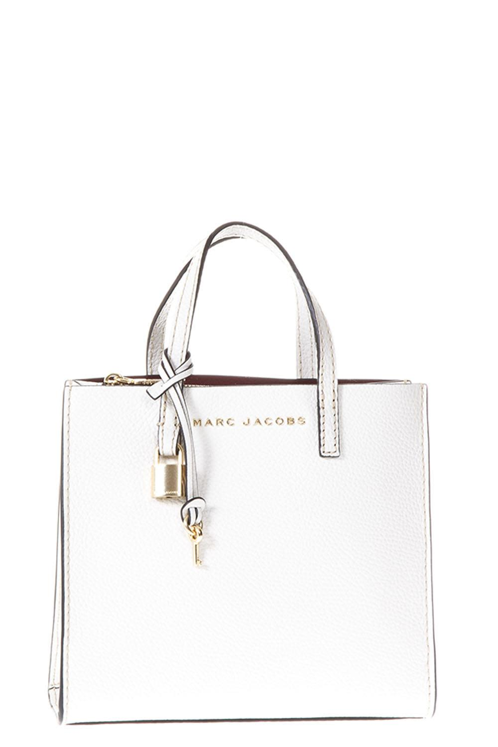 Marc Jacobs Mini Grind White Leather Tote Bag