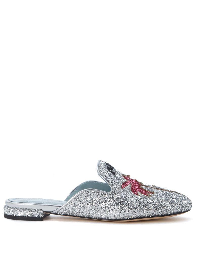 Chiara Ferragni Suite Silver Glitter Mules In Argento