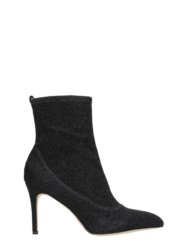 SAM EDELMAN Black Glitter Ankle Boots