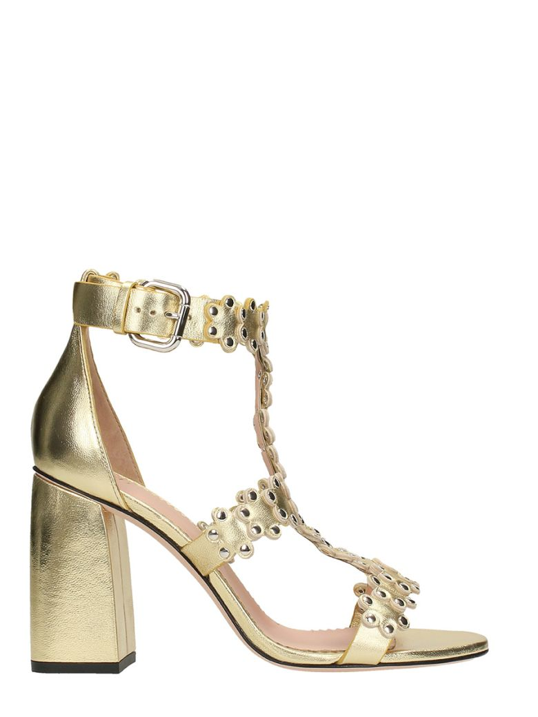RED Valentino Flowers Puzzle Sandal In Golden Leather Cheap Sale High Quality Cheap Get To Buy Limited Edition Cheap Online Very Cheap Online HVr54pPj75