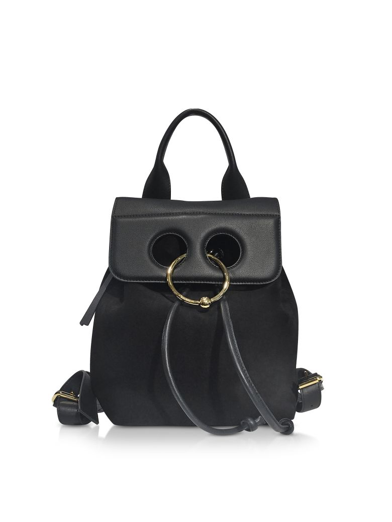 JW ANDERSON BLACK SUEDE AND LEATHER MINI PIERCE BACKPACK