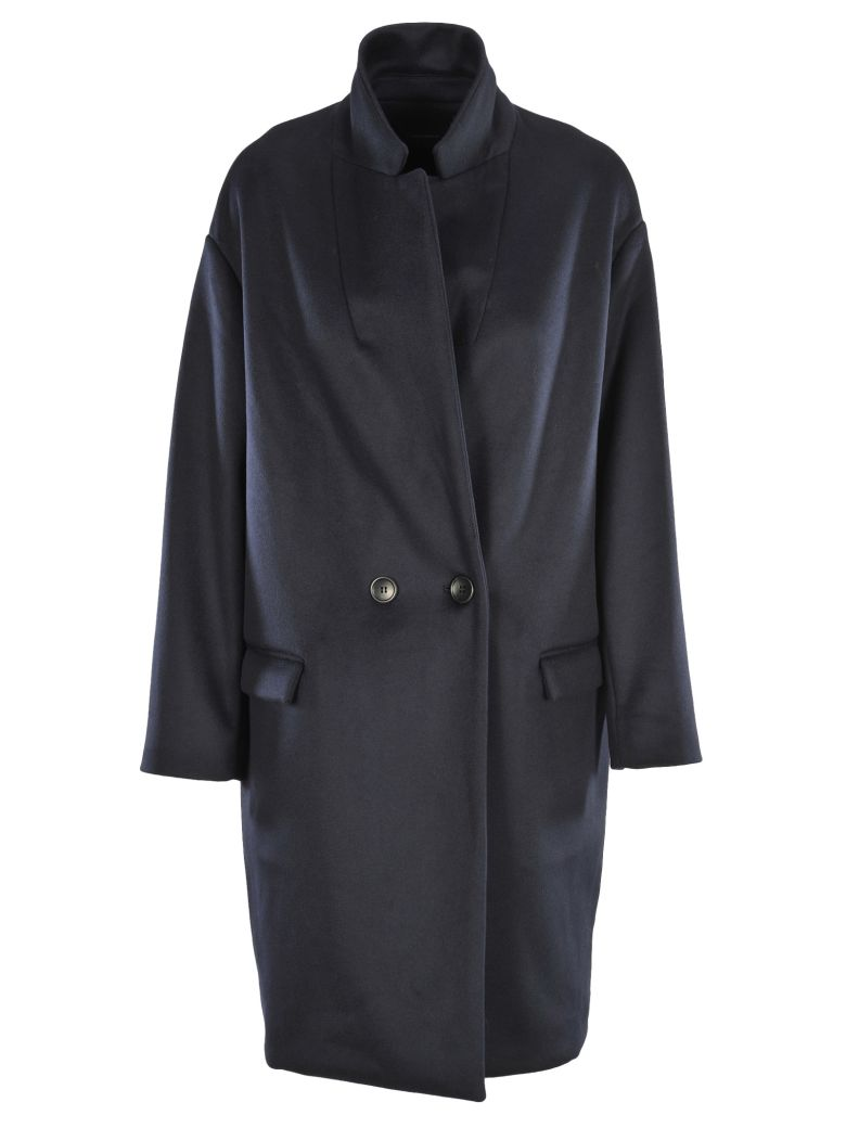Filipo Oversized Blue Wool And Cashmere-Blend Coat in Midnight Blue