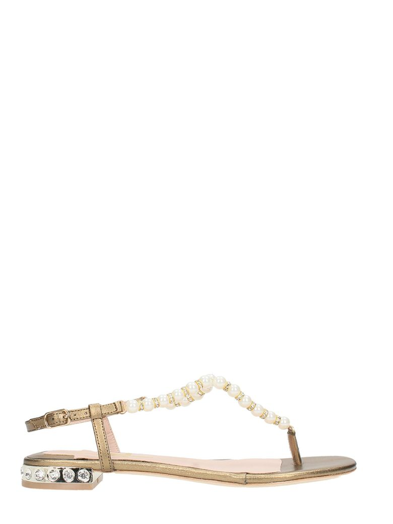 JULIE DEE THONG GOLD LEATHER SANDALS