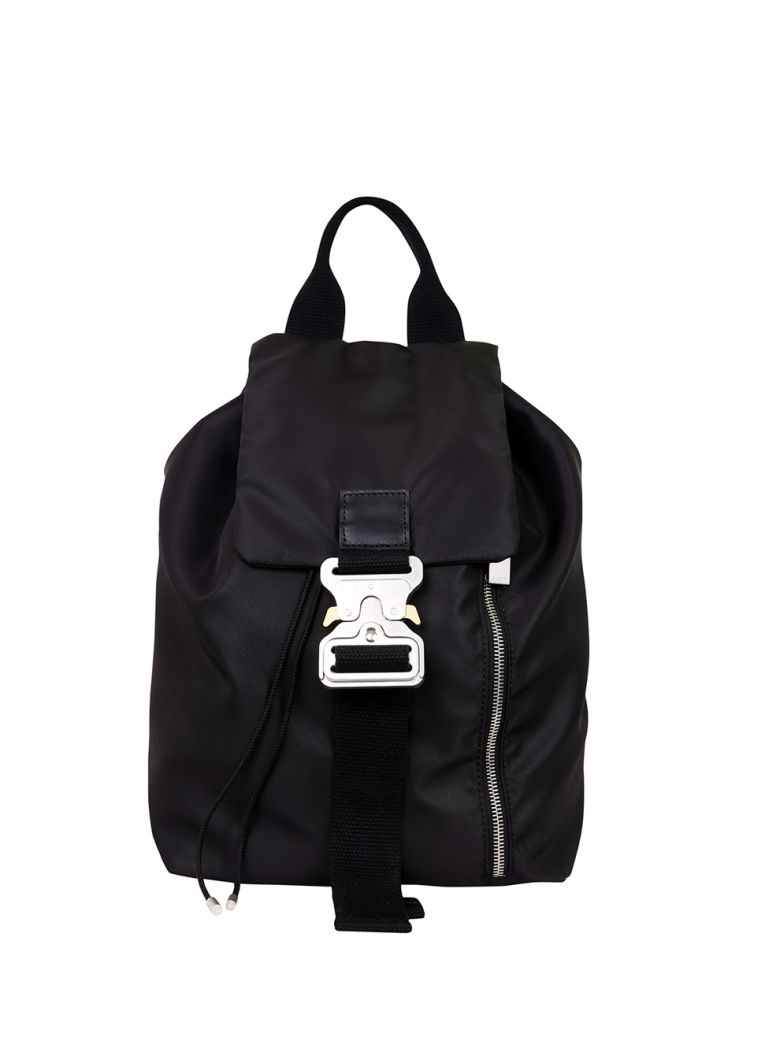 Black Nylon Backpack And Silver-Tone Metal Details, Nero
