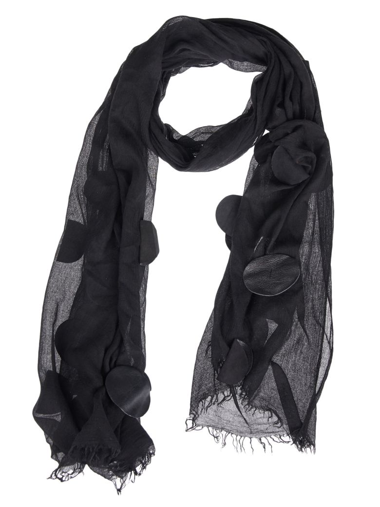 CLAUDIO CUTULI Oval Patched Fray-Trimmed Scarf in Nera