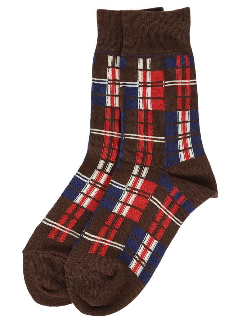 ZUCCA Checkered Socks in Red