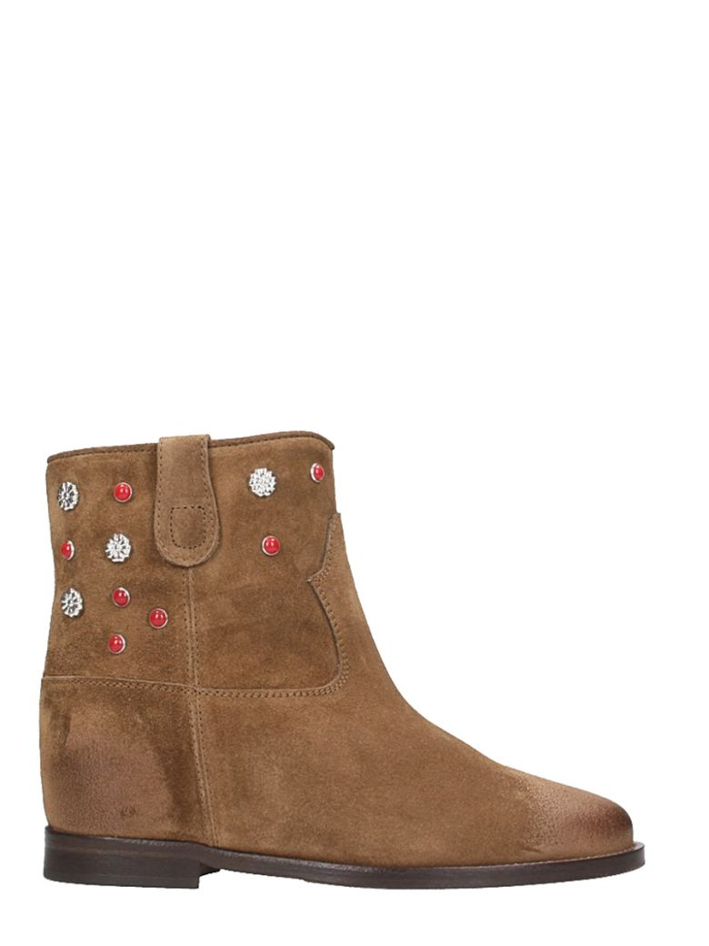 BROWN SUEDE LEATHER WEDGE ANKLE BOOTS