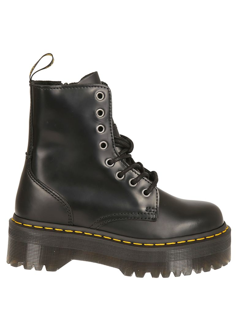 Sinclair Flatform Zip Leather Boots In Black - Black