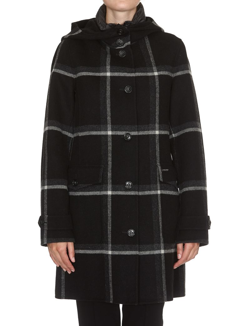 WOOLRICH Marcy Wool Coat With Quilted Vest in Black