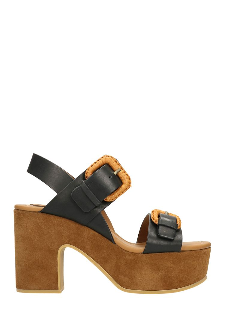 See By Chlo 201 Rafia Suede And Leather Platform Sandals In