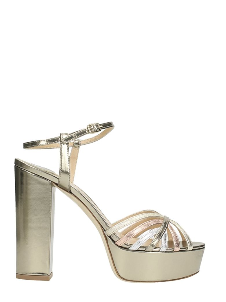 THE SELLER PLATEAU METAL GOLD BRONZE LEATHER SANDALS