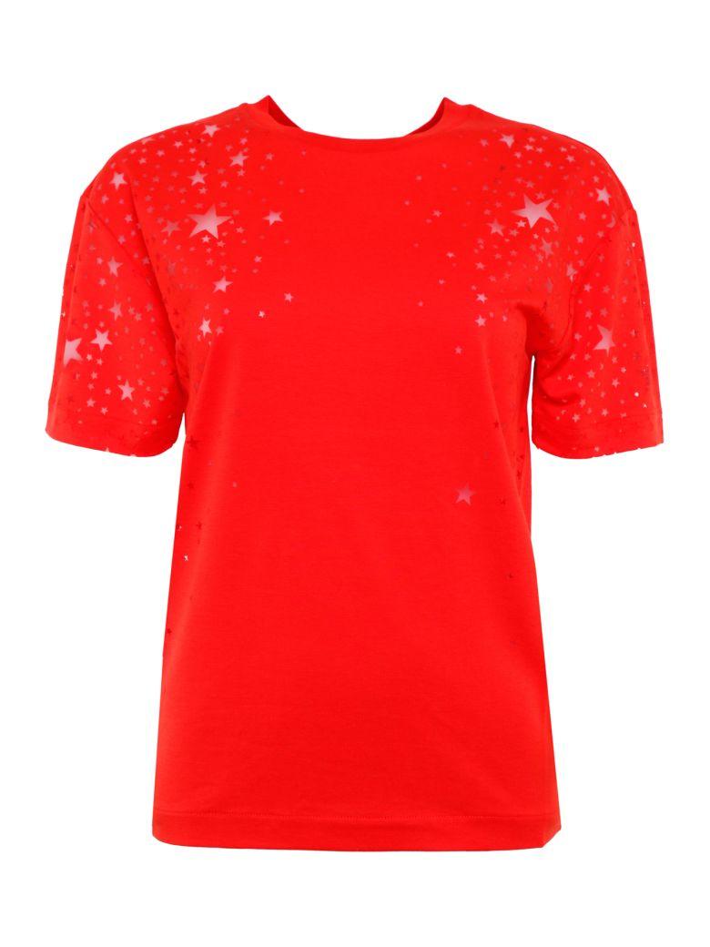 Stella McCartney Devoré Stars T-shirt - LIPSTICK Rosso