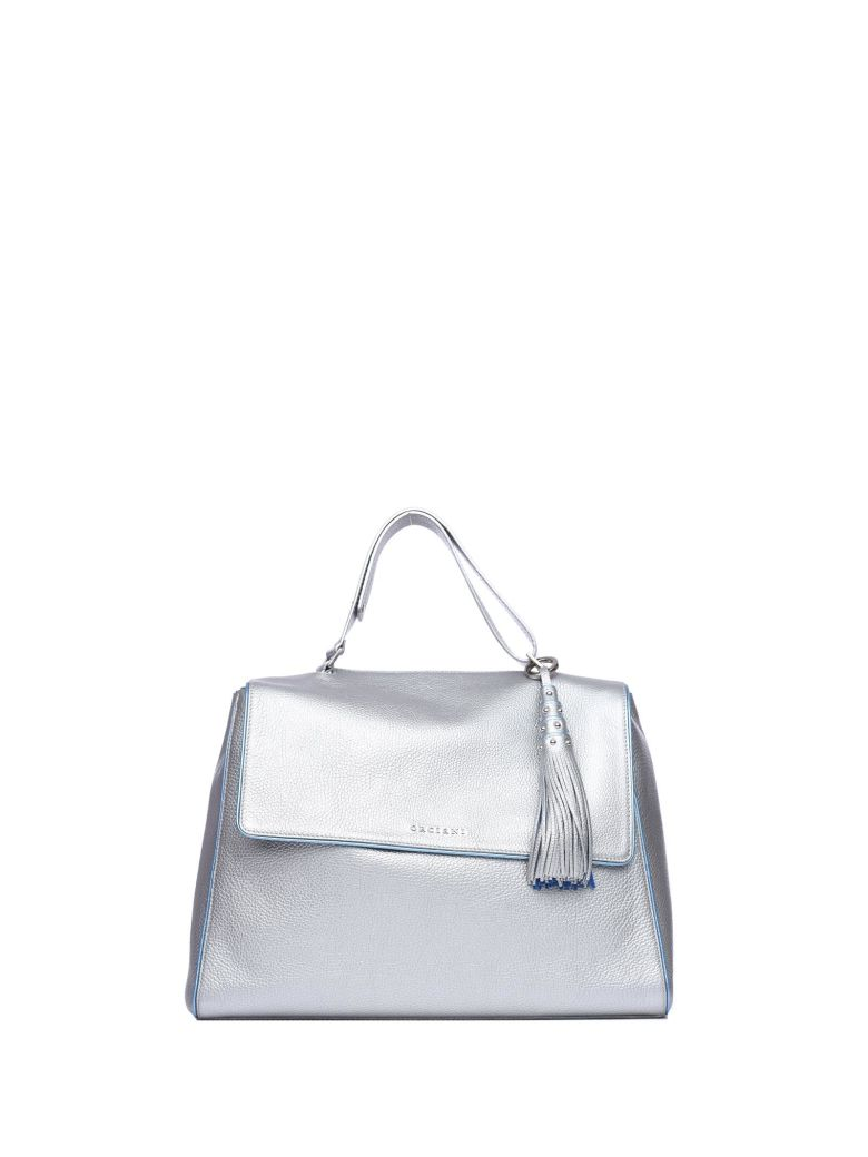 Orciani SILVER COLOR LEATHER SVEVA BAG WITH CHARM