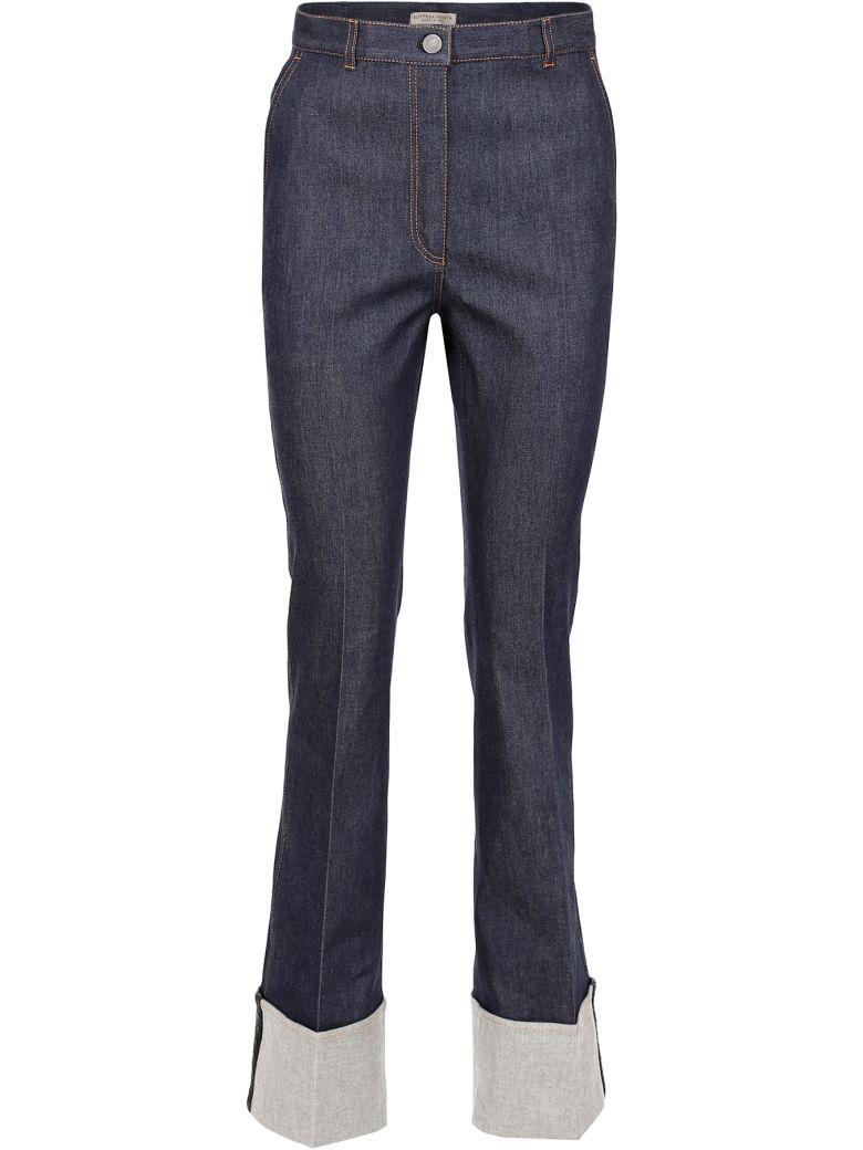 Bottega Veneta Jeans With Turn-up And Woven Nappa - DARK NAVY NERO|Blu